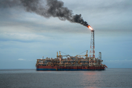 FPSO tanker vessel and Oil Rig platform. Offshore oil and gas industry
