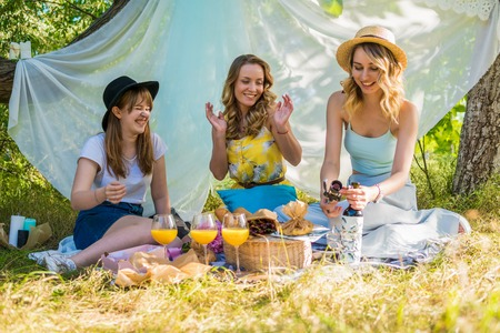 Group of girls friends making picnic outdoor