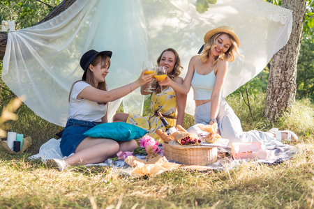 Group of girls friends making picnic outdoor. They have fun