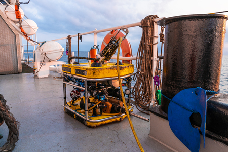 Remote operated vehicle mini ROV on deck of offshore vessel Reklamní fotografie
