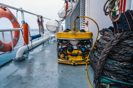 Remote operated vehicle mini ROV on deck of offshore vessel