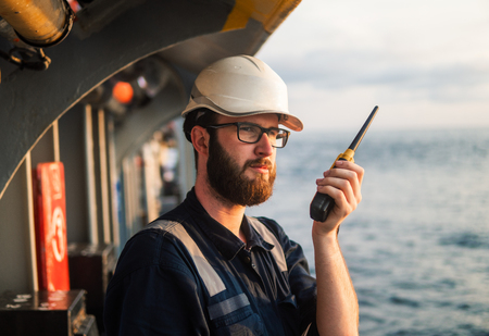 Deck Officer on deck of offshore vessel or ship