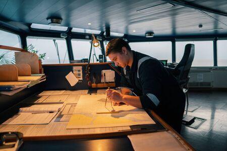 Marine navigational officer during navigational watch on Bridge