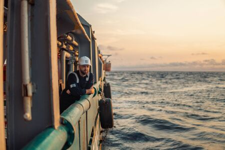 Marine Deck Officer or Chief mate on deck of offshore vessel or ship 写真素材