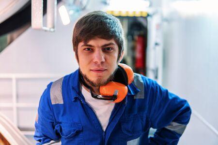 Marine engineer works on the ship. Seamens work