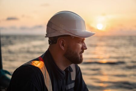 Marine Deck Officer or Chief mate on deck of offshore vessel or ship Stock Photo