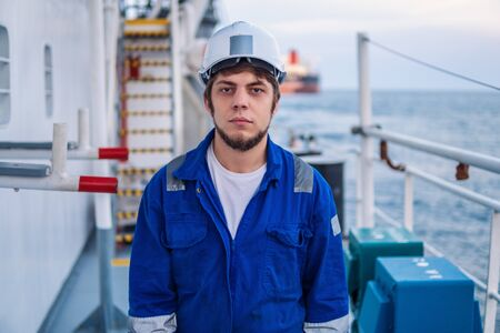 Marine Deck Officer or Chief mate on deck of offshore vessel
