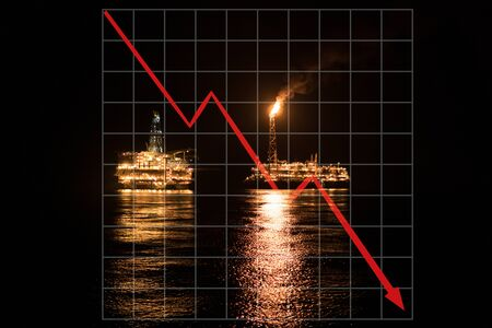 Concept of falling market in oil marine industry with downward graphics. Oil price decreases. FPSO tanker vessel and Oil Rig platform at night