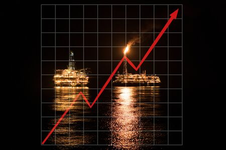 Concept of growth up in offshore marine industry with rising graphics. Oil price increases. FPSO tanker vessel and Oil Rig platform Reklamní fotografie