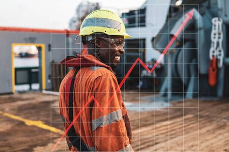 Concept of growth up in marine industry with rising graphics. Head of AB able seamen - Bosun on deck of offshore vessel