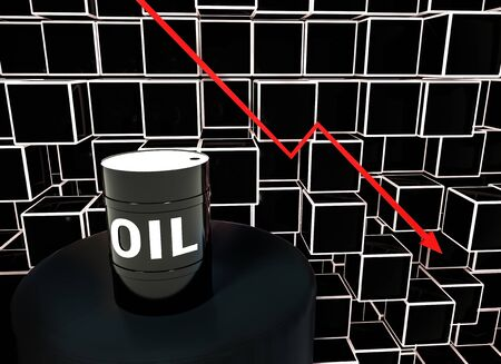 3d Rendered. Concept of falling market in oil industry with with downward graphics and oil barrel. Oil price decreases