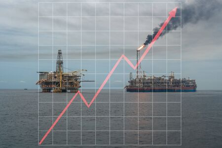Concept of growth up in offshore marine industry with rising graphics. Oil price increases. FPSO tanker vessel and Oil Rig platform.