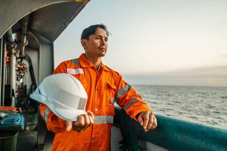 Filipino deck Officer on deck of vessel or ship Standard-Bild