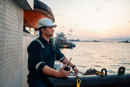 Marine Deck Officer or Chief mate on deck of offshore vessel or ship 免版税图像