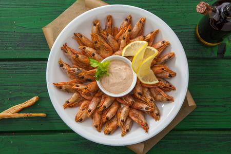 Shrimp with lemon sauce Stock Photo