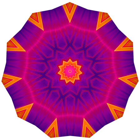 path to wealth: Multi colored ornamental pattern in round shape.  Image shows rich vibrant purple magenta red and orange colors. Image contains a lot of details even at full zoom.