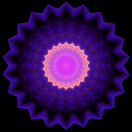 serrated: Geometric pattern in serrated circle shape and a zoom effect. Shapes inscribed into each other. Image shows purple light magenta and light orange colors. Background of the image is black. Image contains a lot of details even at full zoom. Stock Photo