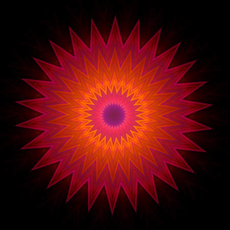 star path: Ornamental pattern in star shape on black background. Shapes inscribed into each other. Image shows orange color which fades into purple at the edges. Image contains a lot of details even at full zoom.