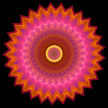 inscribed: Multi colored concentric ornament pattern inscribed in spiked round shape on black. Shapes inscribed into each other with zoom effect. Image shows orange magenta and bright yellow colors. Image contains a lot of details even at full zoom. Stock Photo