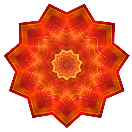 achieved: Illustration of abstract red flower in polygon shape with striped pattern and included polygons inside. Image shows rich red and orange colors with glowing effect. Volume effect achieved through the dark and light areas. Image contains a lot of details ev Stock Photo