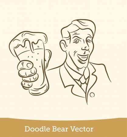 doodle man with a beer Illustration