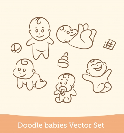 cartoon baby boy: doodle baby set