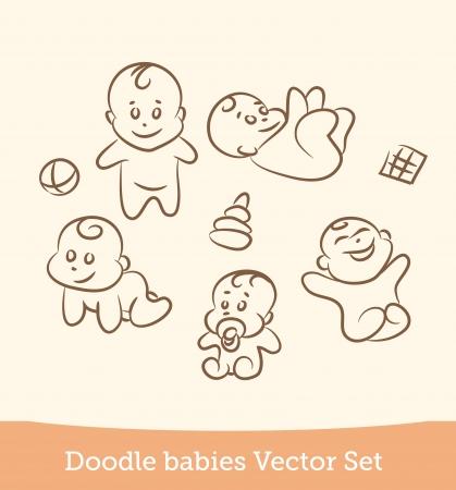 sistema del bebé del doodle Ilustración de vector