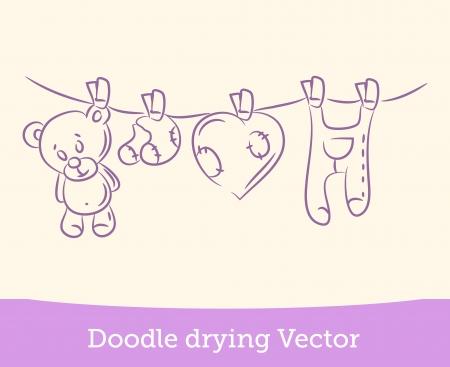 laundry line: secado garabato Vectores