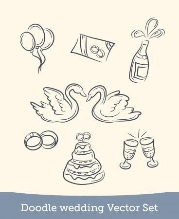 doodle wedding set Illustration