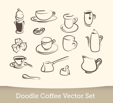 coffee doodle vector set