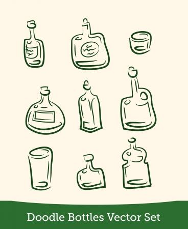 doodle bottle set Illustration