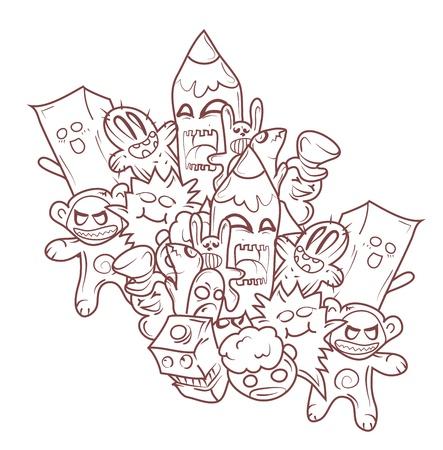 Doodle Monsters Illustration