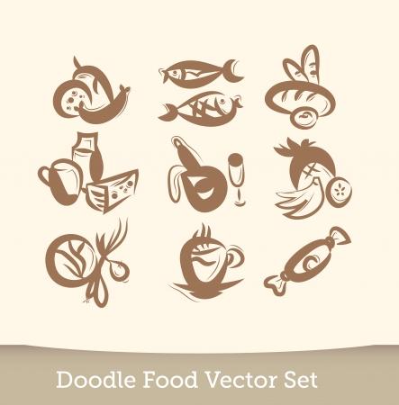 Food set doodle Vector