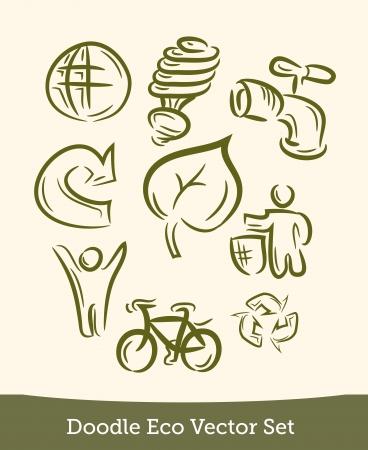 Eco set doodle Illustration