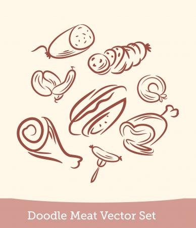 c�telette de porc: viande Doodle set Illustration