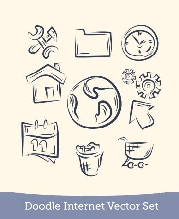 internet set doodle Illustration