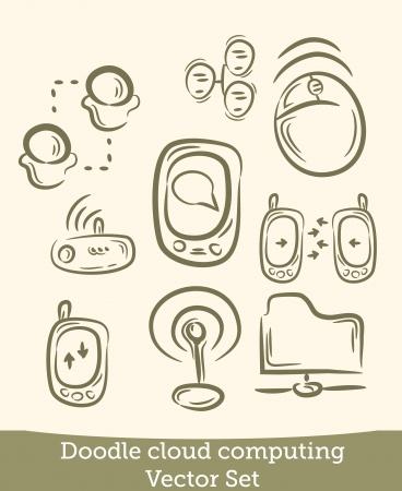 cloud computing set doodle Vector