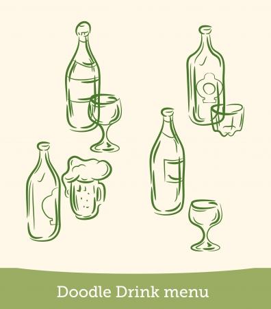doodle drink menu set