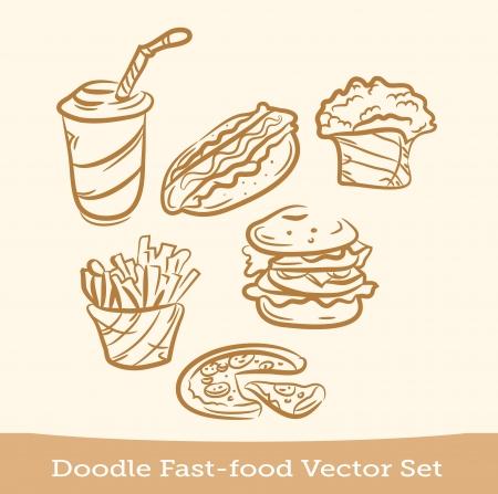 doodle fast food set Vector