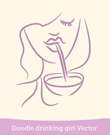woman drinking wine: doodle girl drinking