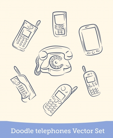 doodle phone set Illustration