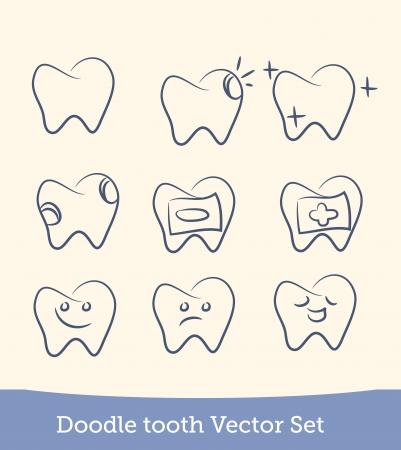 dermatologist: doodle teeth set Illustration
