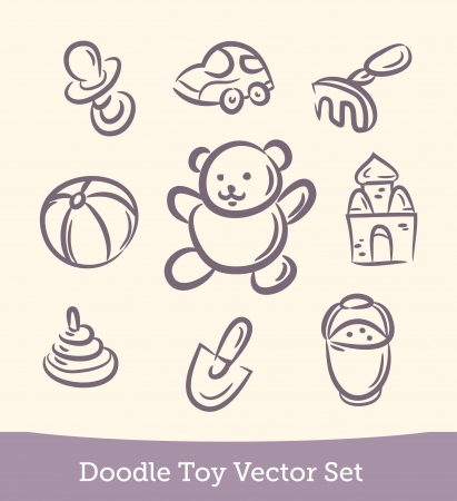 doodle Toy set Vector