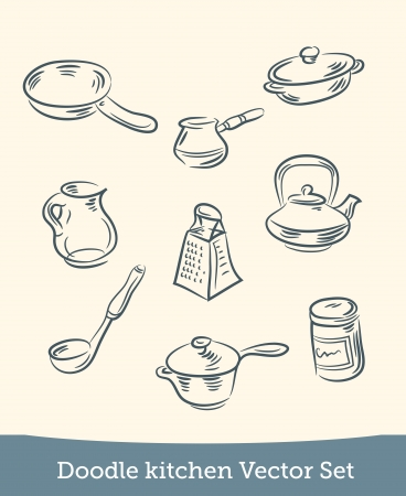 doodle kitchen set Stock Vector - 19864076