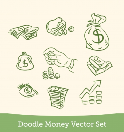 finance doodle set Vector