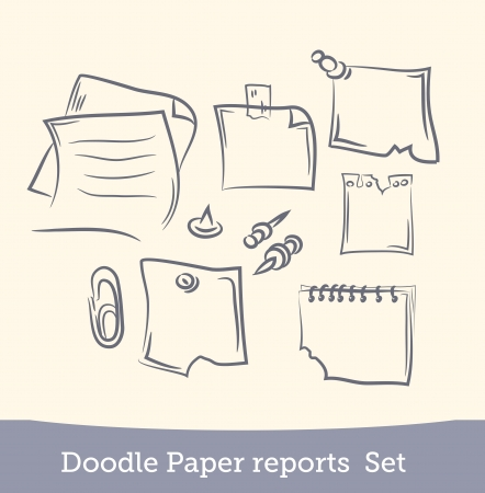 preview: doodle paper reports set
