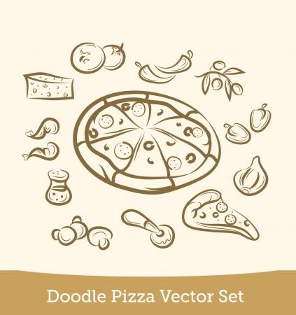 doodle pizza set Illustration