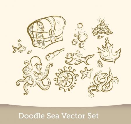 Sea doodle set Illustration