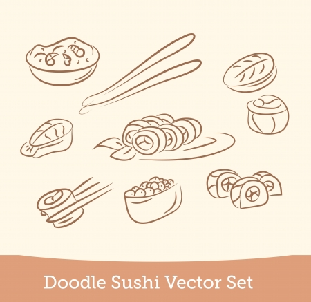 doodle sushi set Vector