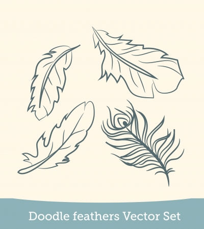 doodle feather set